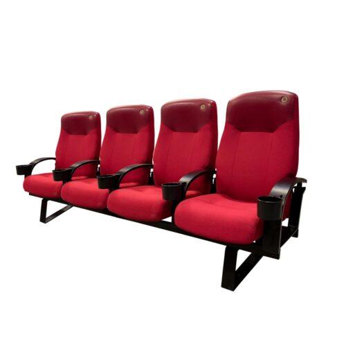 Skeie Lux, røde med træ armlæn, 4 stole
